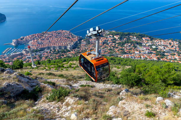Aerial view of Dubrovnik from the top of the mountain. stock photo