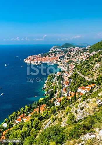 istock Aerial view of Dubrovnik with the Adriatic Sea in Croatia 1076685486