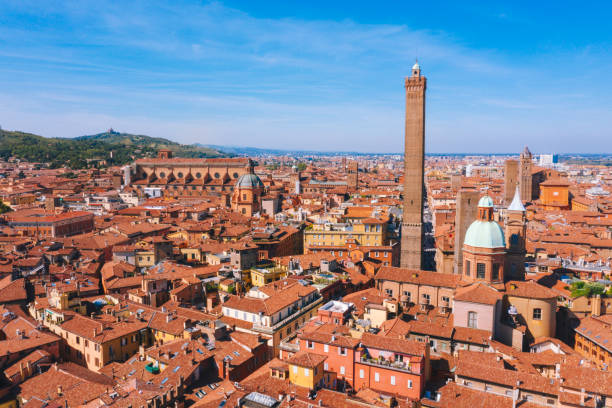 Aerial view of Due torri towers in Bologna Italy stock photo