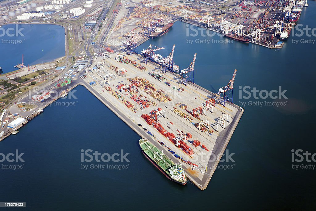 aerial view of durban harbour royalty-free stock photo