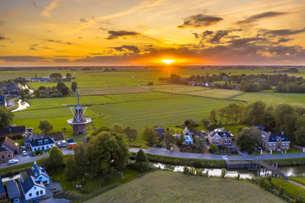 Aerial view of dutch countryside stock photo