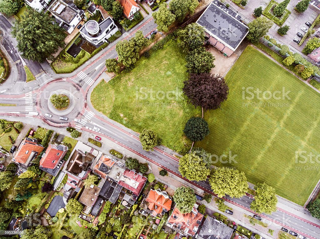 Aerial view of Dutch town, builidings, park, roundabout stock photo