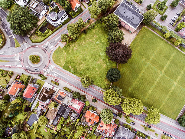 aerial view of dutch town, builidings, park, roundabout - pays bas photos et images de collection