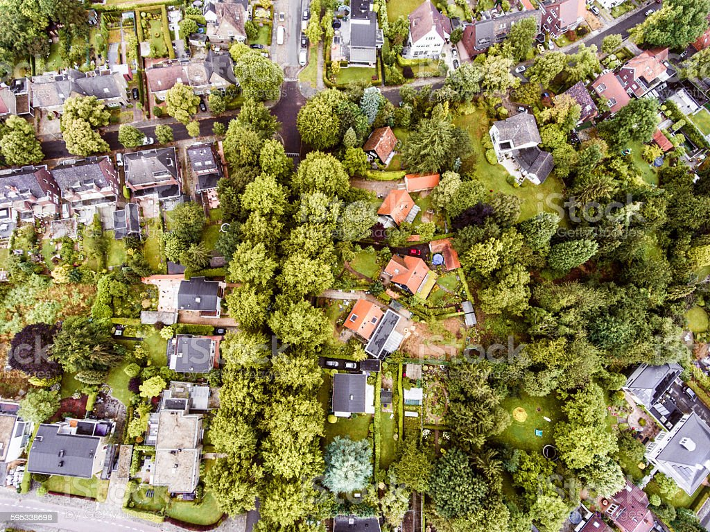 Aerial view of Dutch town, houses with gardens, green park stock photo