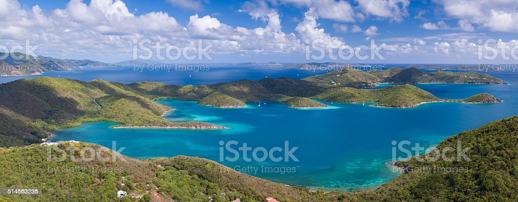 aerial view of East End, St.John, US Virgin Islands stock photo