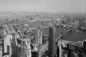 Aerial view of East River with the Brooklyn Bridge and Manhattan Bridge.