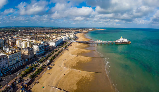Aerial view of Eastbourne in summer, UK stock photo