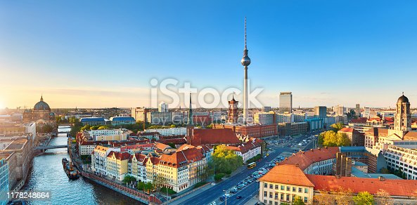 Aerial view of Eastern Berlin on a bright day in Spring including Alexanderplatz, panoramic image