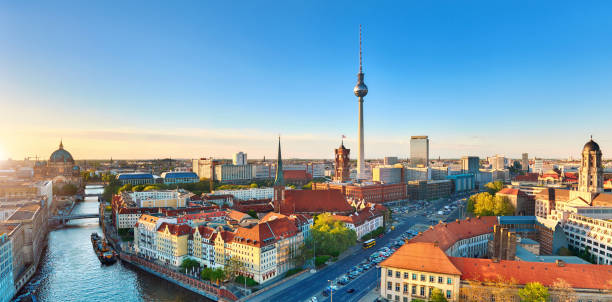 Aerial view of Eastern Berlin on a bright day in Spring including Alexanderplatz Aerial view of Eastern Berlin on a bright day in Spring including Alexanderplatz, panoramic image berlin stock pictures, royalty-free photos & images