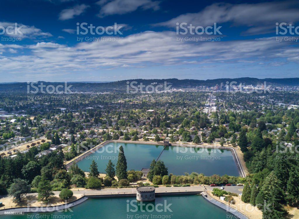 Aerial View of Eastern Portland, OR stock photo