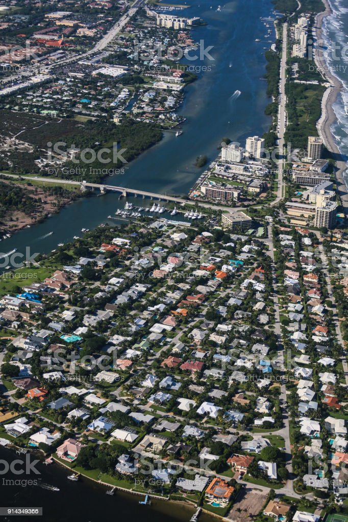 Aerial View of Eastern South Florida Coastline stock photo
