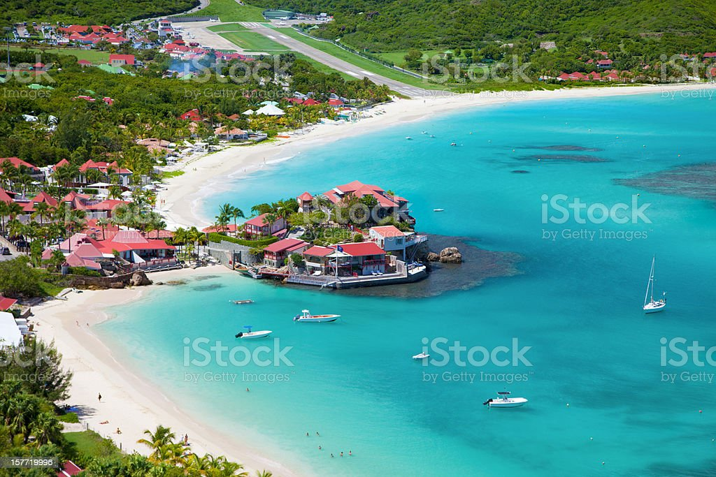 aerial view of Eden Rock, St. Barths, French West Indies stock photo