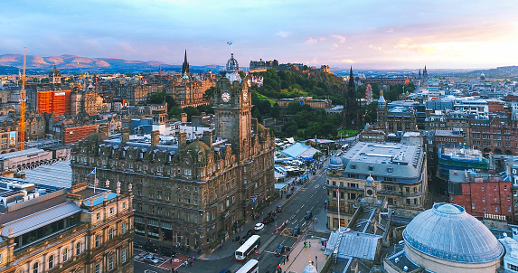Aerial view of Edinburgh city during sunset Scotland