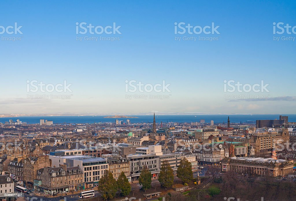 Aerial view of Edinburgh, Scotland stock photo