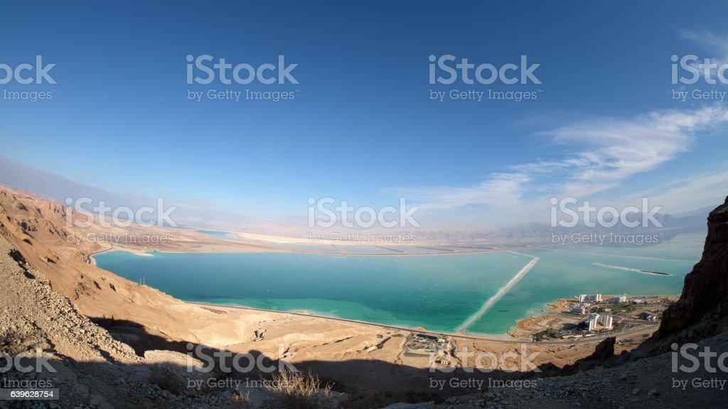 Aerial view of Ein Bokek coast. stock photo