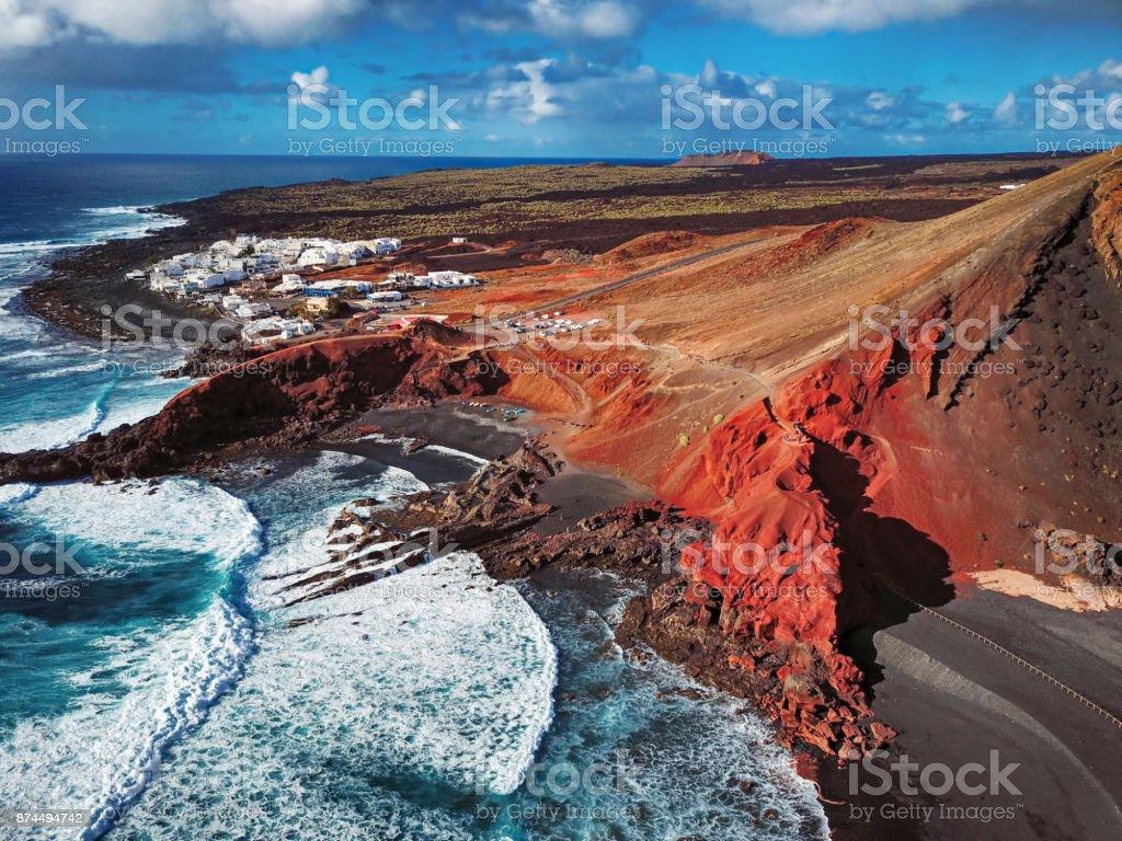 Luftaufnahme von El Golfo, Lanzarote, Kanarische Inseln – Foto