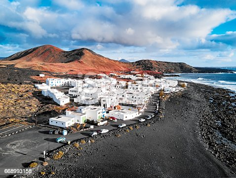 Aerial view of El Golfo village, Lanzarote, Canary Islands, Spain