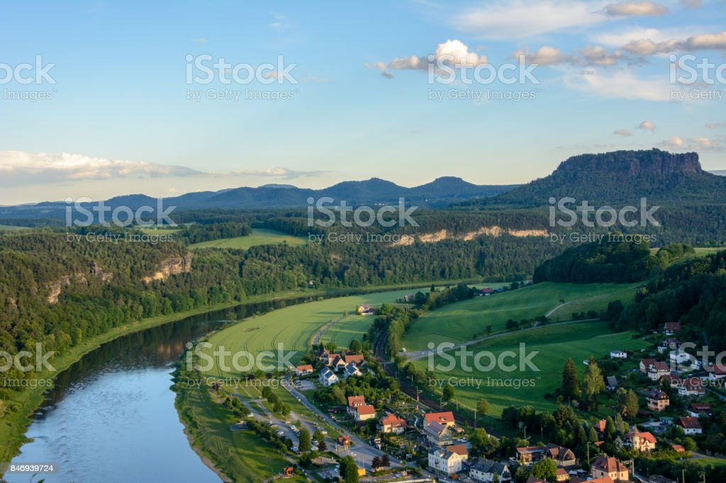 Aerial view of Elbe river in Germany, Saxony. Saxon Switzerland national park stock photo