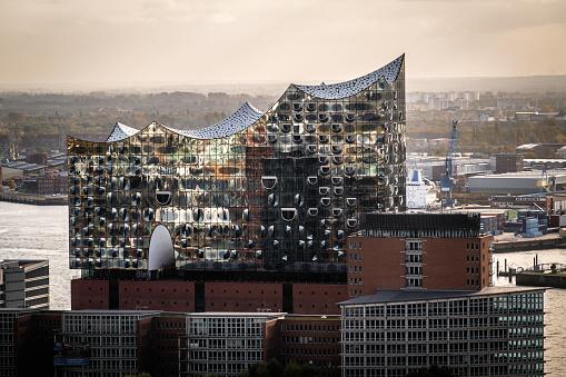 Aerial view of Elbphilharmonie, Elbe Philharmonic Hall, Hamburg, Germany