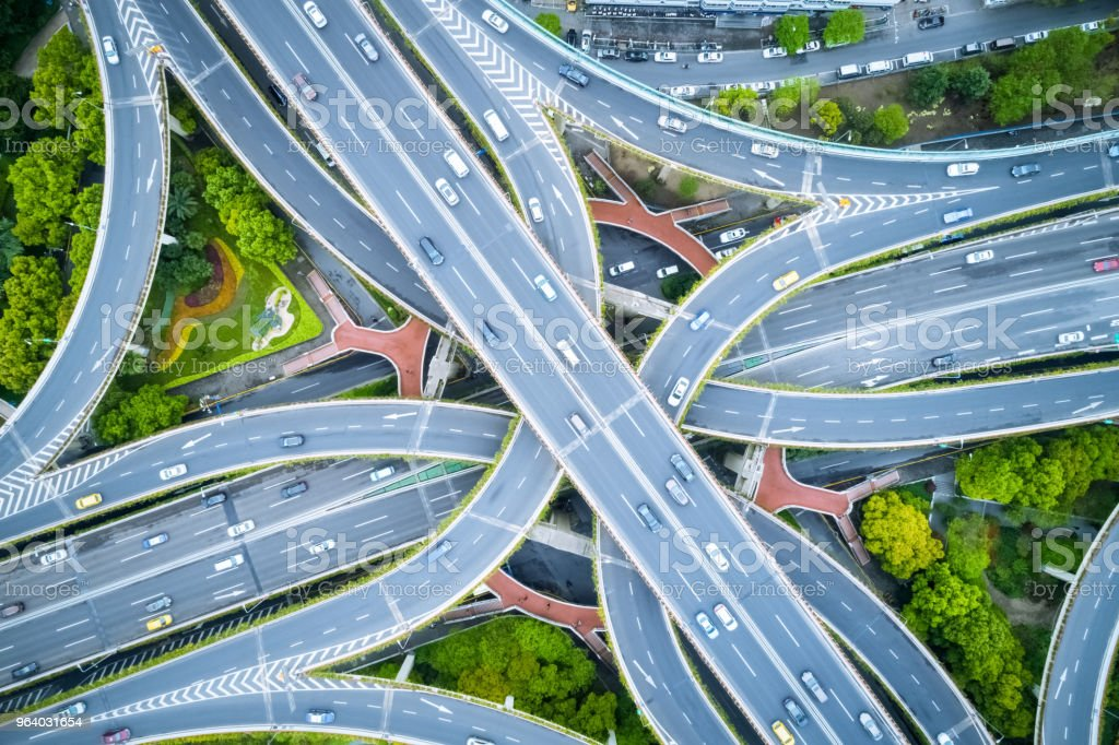 aerial view of elevated road junction - Royalty-free Aerial View Stock Photo