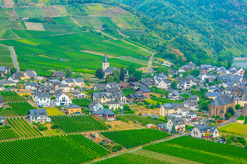 Aerial view of Ellenz-Poltersdorf from Burg Metternich, Germany