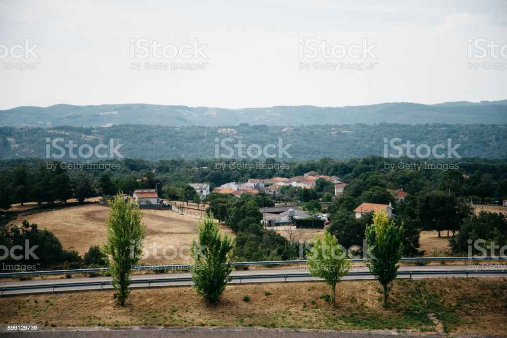 Aerial view of empty asphalt highway stock photo