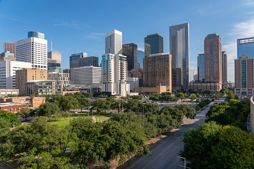Aerial View of Empty Houston Texas Streets with Clear Blue Skies