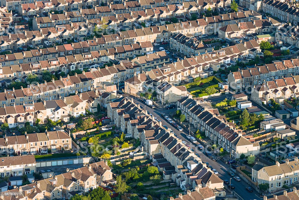 Aerial view of English residential streets stock photo
