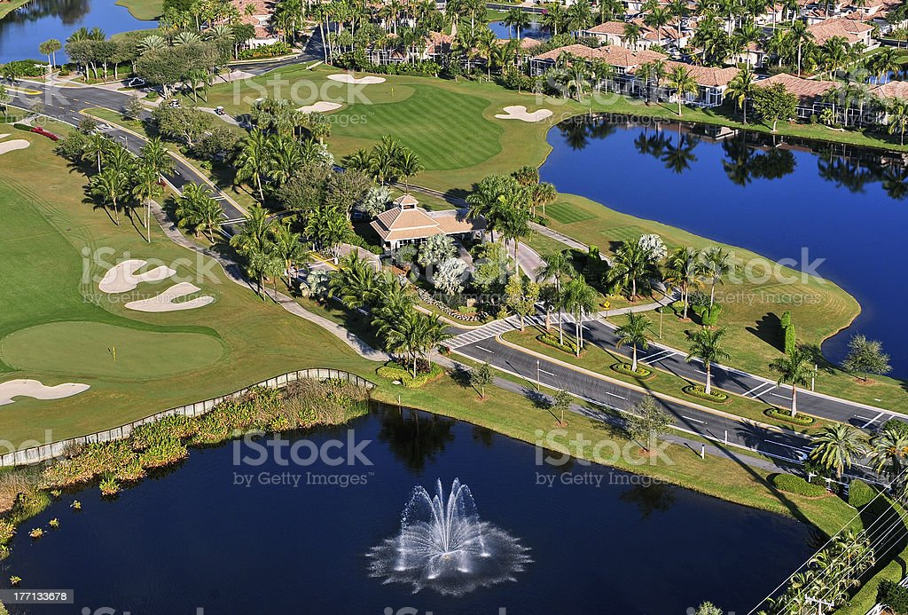 aerial view of entrance to nice florida golf community stock photo