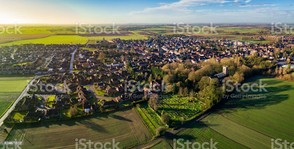 Aerial View of Epworth, North Lincolnshire. stock photo
