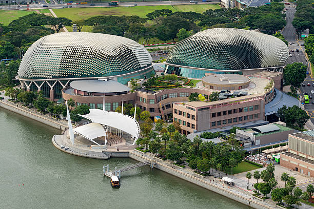 Aerial view of Esplanade theatre at Marina Bay Singapore, Singapore - December 12, 2016: Aerial view of Esplanade theatre and out stage at Marina Bay, Singapore.It is a modern building for musical,art gallery and concert. esplanade theater stock pictures, royalty-free photos & images