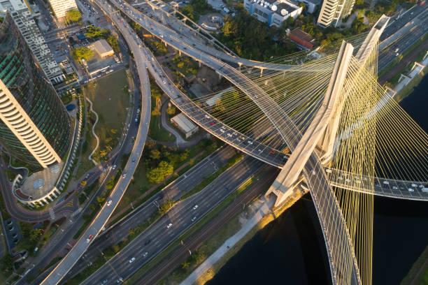 aerial view of estaiada bridge in sao paulo, brazil - latin america stock pictures, royalty-free photos & images