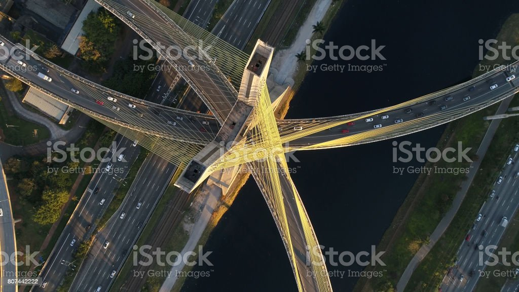 Aerial View of Estaiada Bridge in Sao Paulo, Brazil stock photo