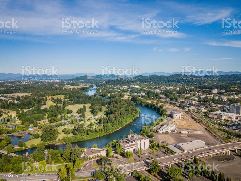 Aerial view of Eugene Oregon and Willamette River stock photo