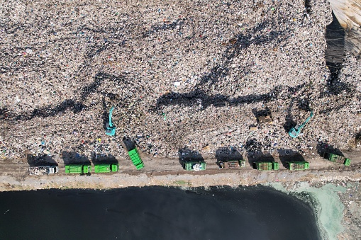Aerial view of excavator machine is working on a trash dump
