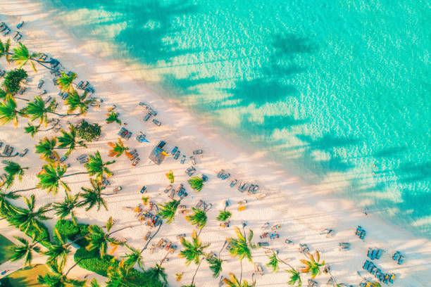 Luftaufnahme von exotischem tropischen Strand und Meer – Foto