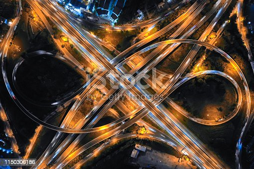 Aerial view of Expressway road intersection at night