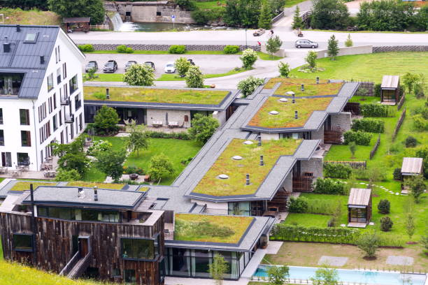 Luftaufnahme des umfangreichen grün Leben Sod Dächer mit Vegetation bedeckt – Foto