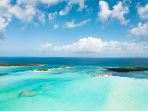 aerial view of exuma at the bahamas. summer vacation - exuma foto e immagini stock