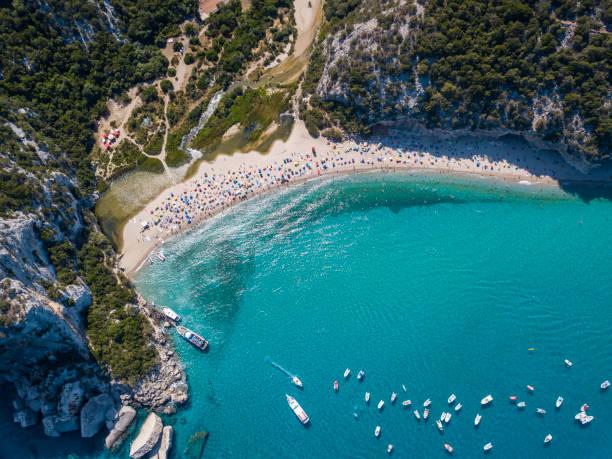 aerial view of famous cala luna beach, sardinia - sardegna foto e immagini stock