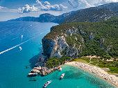 Aerial view of the famous Cala Luna Beach in Sardinia, Italy. Location: Gulf of Orosei, Province of Nuoro, East Sardinia.