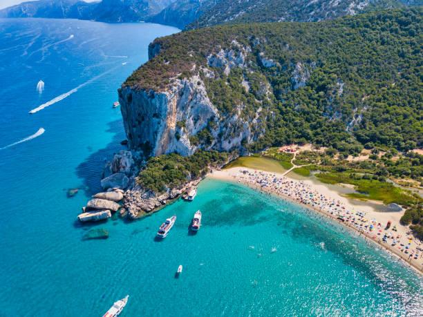 Aerial view of famous Cala Luna Beach, Sardinia stock photo