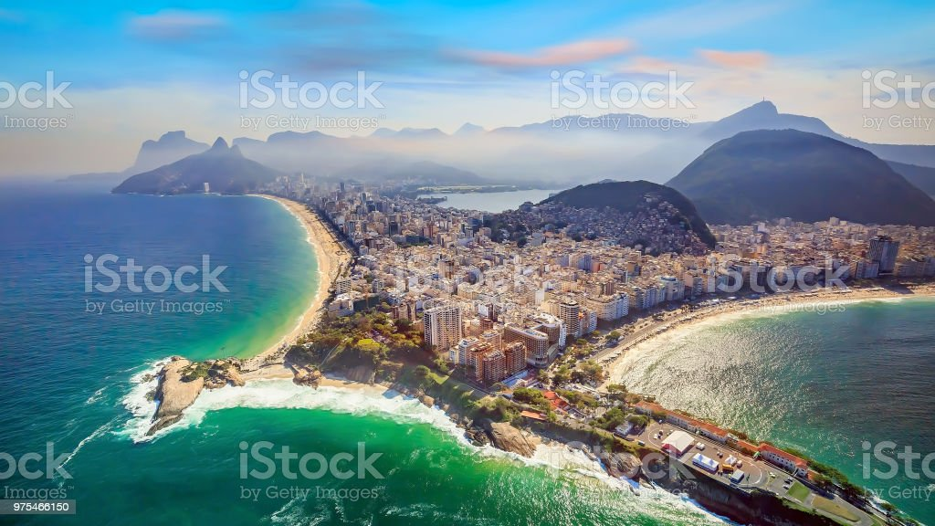 Aerial view of famous Copacabana Beach and Ipanema beach stock photo
