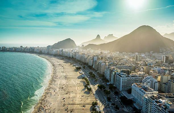 Aerial view of famous Copacabana Beach in Rio de Janeiro stock photo