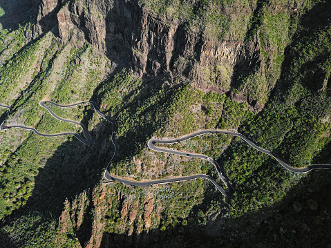 Aerial view of famous Masca Canyon and mountain road on Tenerife island, Canary Islands, Spain