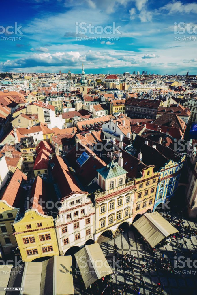 Aerial View of Famous old Town Square in Prague City stock photo