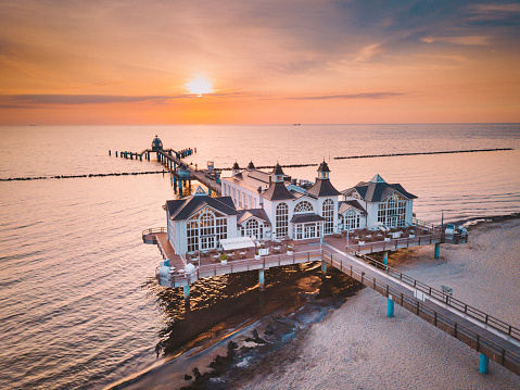 Aerial view of famous Sellin Pier at sunrise, Baltic Sea, Germany
