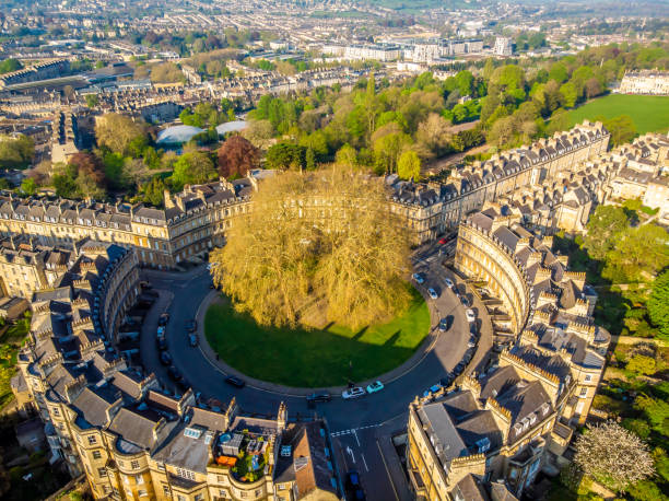 Aerial view of  famous the circus building in Bath, England stock photo