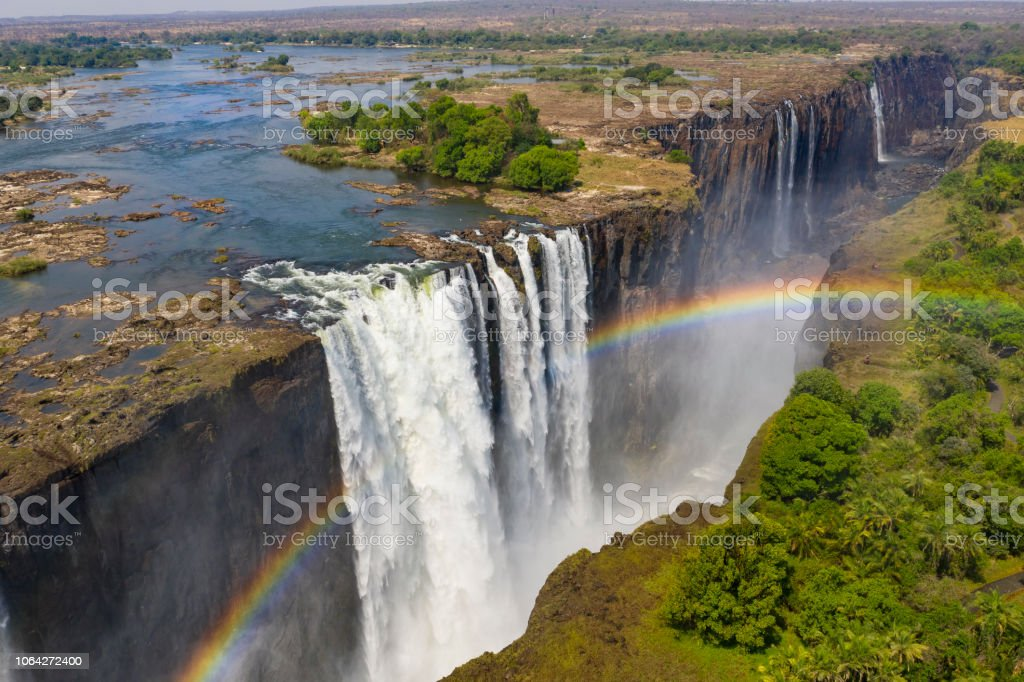 Aerial View Of Famous Victoria Falls Zimbabwe And Zambia Stock Photo Download Image Now