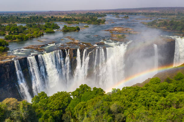 Aerial view of famous Victoria Falls, Zimbabwe and Zambia stock photo